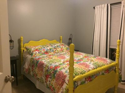 PRICE REDUCED! Sunshine Yellow w/ White Detail Double Frame Bed