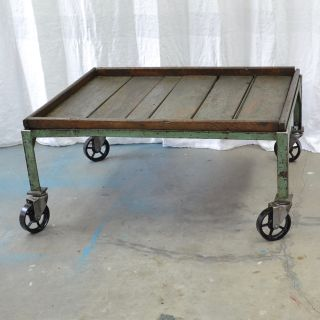 Vintage Iron Industrial Coffee Table with Wood Top