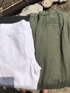 Size 10 White Jeans + Olive Green Linen Pants