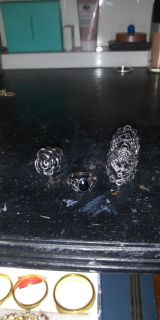 Lot of 3 sterling silver rings one set with onyx stones all 3 well made not cheapos