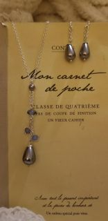 Avon Grey Pearlesque Y Necklace & Earrings