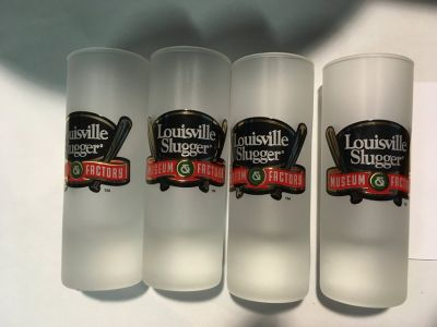 """4 Louisville Slugger Museum Factory Frosted Shot Glass New Condition 4 1/8"""" tall"""