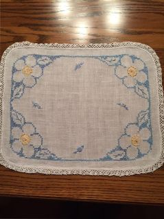 16 x 12.5 Small Vintage X-Stitched and Crocheted Dresser Scarf