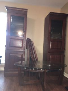 Cherry Wood Entertainment Center and matching Cofee Table