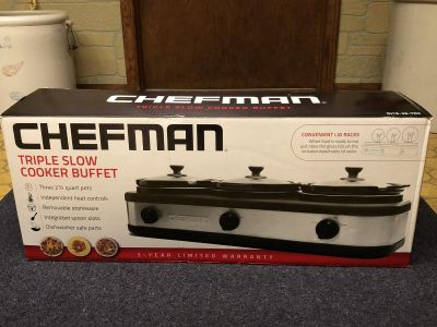 Chefman Triple Slow Cooker Buffet - Brand New-Never Used