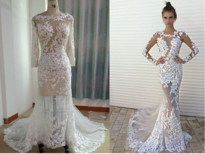 Darius Cordell Custom Wedding Dress with Long Sleeves