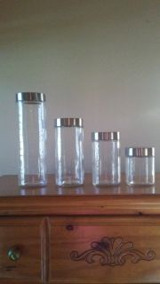 4 glass food canisters