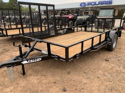 "2019 Falcon TrailerWorks 77"" X 14' Single Axle ATV Side Gate Trailer - Utility Marshall, TX"