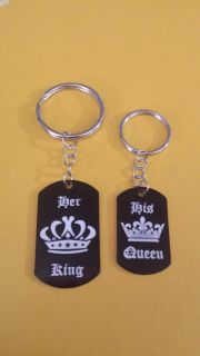 New Her King His Queen Couple Key Chain set
