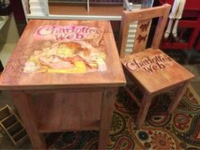 hand crafted toddler table/chair