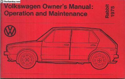 1975 Rabbit Owner's Instruction Manual Unused