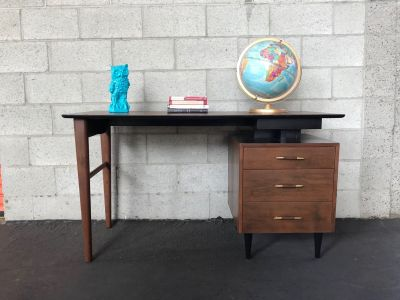 MID CENTURY MODERN 3 Drawer Pivot Top Desk