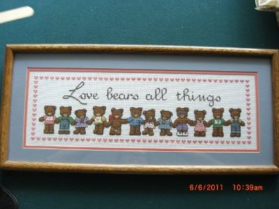 Cross stitched bear picture framed