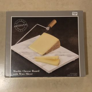 Marble Cheese Board w/Wire Slicer in Box EUC