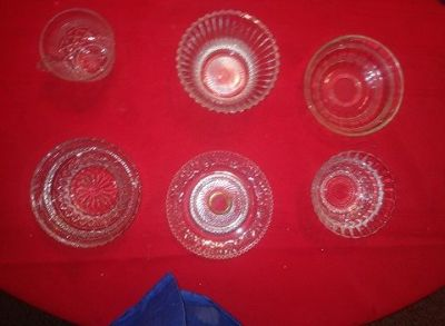 six vintage misc crystal pieces