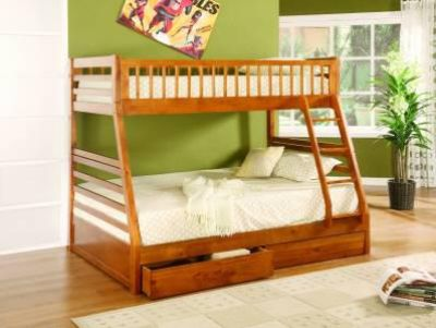 $339, BEAUTIFUL SOLID WOOD Twin over full bunk bed with storage drawers