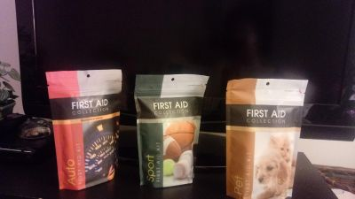 Sports First Aids Kit Also available are Auto First Aide Kit adn the Pet First Aide Kit.
