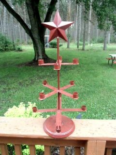 "primitive star 12 candle holder holds roughly 3/4"" candles metal cranberry!"