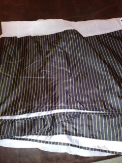 Black and gold striped queen bed skirt