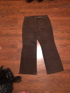 Leather brown pants
