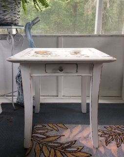 Distressed sturdy side table 20x20x20h Firm price