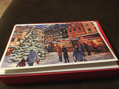 American Greetings Pretty Glittery Sparkly Old Tibet Christmas Town Postcards 16 cards w/ envelopes