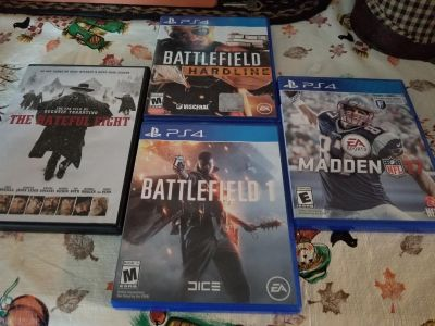 Price for all. Great price. Excellent condition. 3 ps4 games and one dvd