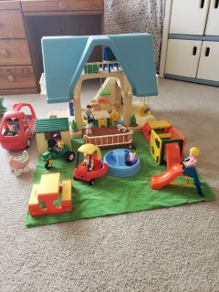REDUCED! Little Tikes Vintage Blue Dollhouse Complete With Furniture!