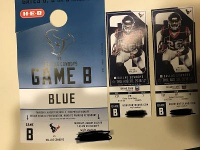 Texans vs. Dallas Tickets (Aug. 30) and Blue Parking Pass-