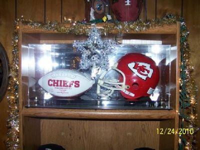 $250 Kansas City Cheif Helmet & Football In Case