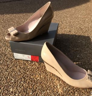 Vince Camuto Nude Peep Toe Wedges - Size 8 (Worn Once)