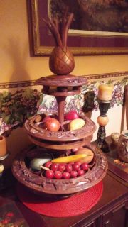 Two tiered wood lazy susan