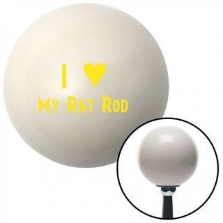 Purchase Yellow I <3 MY RAT ROD Ivory Shift Knob with 16mm x 1.5 Insert dirt vintage 7.3 motorcycle in Portland, Oregon, United States, for US $29.97