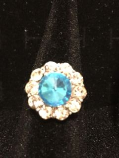Silver ring with aqua stone size 6