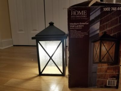 Home Decorators outdoor lantern light -cracked glass