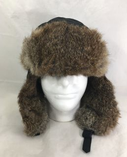 Crowncap Winnipeg Canada Real Rabbit Fur Trim Winter Bomber Aviator Hat Large
