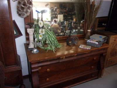 Vintage Six Drawer Dresser With Mirror