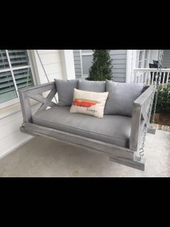 HANGING PORCH BED SWING (THIS ONE IS MADE WITH A CRIB MATTRESS BUT CAN BE MADE WITH TWIN MATTRESS)