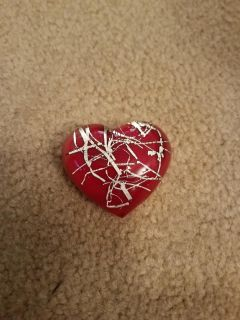 VALENTINE PAPER WEIGHT GLASS HEART, EXCELLENT CONDITION, SMOKE FREE HOUSE