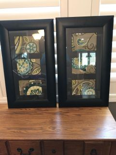 14 1/2 x 24 1/2 black with brown mats picture wood frame picture. Insides cane be replaced 4 1/2 high. 6 1/2 wide. No scratches.