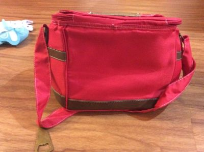 Red lunch bag with bottle opener