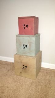 Large primitive stackable boxes
