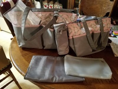 Gray/Pink Print Diaper Bag and Accessories