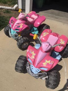 2 power wheels, 3 batteries, 2 chargers