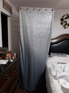 """Set of Two Bebe 84"""" Length Room Darkening Velvety Silver Curtains. Excellent Condition!"""