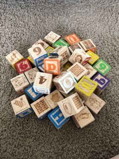 Set of larger solid wood baby blocks