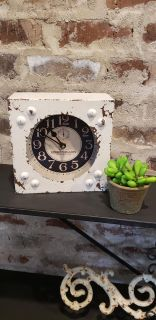 """Rustic White Metal French Table Clock. Works with 1 AA Battery. EUC. 8"""" x 8""""."""