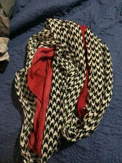 Houndstooth and red scarf