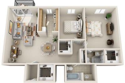 2 bedrooms Apartment - The featured living spaces.