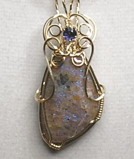 Louisiana Opal (Extremely Rare) Pendant with Iolite